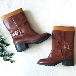 Cole Haan Two Tone Short Buckle Boots 6